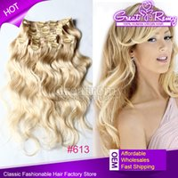 Cheap virgin clip human hair extensions 120g  set 18inch #613 body wave clip in hair extension Multiply Colors 2-3 set full head can be dyed dark