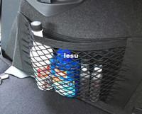 Wholesale New Arrive Strong Magic Tape Car Seat Back Storage Mesh Net Bag cm cm Luggage Holder Pocket Sticker Trunk Organizer Car Styling