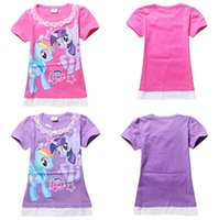 Wholesale cartoon My little Pony Short Sleeve t shirt colors Chiffon lace t shirt dress Free Shipping