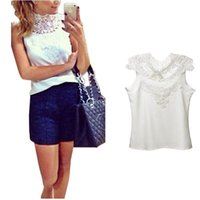 Cheap New Arrival Women's Sleeveless Tops Shirt New Patchwork Hollow Out Lace Sexy Backless Chiffon Slim Blouse S-XXL
