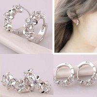 Wholesale Ladies Silver Flower Stud Hoop Round Crystal Earring Cubic Zirconia