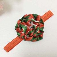 chevron fabric - Christmas Chevron Flower Headbands For Girls Childrens Accessories Kids Fabric Flowers Head Bands Infants Baby Hair Accessories C14127