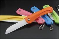 ceramic blade knife - 2015 NEW ceramic folding knife zirconium oxide nanometer ceramic blade ABS handle Kitchen Fruit Paring Knife