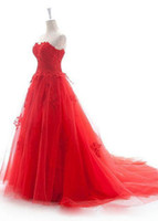 red ball gown wedding dress - China Cheap Red Wedding Dresses Lace Appliques XX Court Train Vestidos de Noivas Real Pictures Red Tulle Ball gown Bridal Gowns