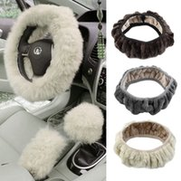 Wholesale pc Charm Warm Long Wool Fur Plush car Steering Wheel Cover woolen Car Handbrake Accessory hot selling