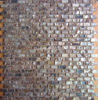 Wholesale Coffee color tiles natural color mother of pearl shell wall mosaic brick tile for interior decoration