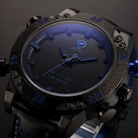 batteries led clock - Shark Brand Sports Watches Black Blue Dual Time Auto Date Alarm Leather Band LED Male Clock Analog Military Quartz Men Digital Watch SH265