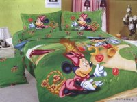 beautiful dog pictures - Beautiful Pictures Green Bedding Minnie Mouse Pick Flower Mickey Dog Print Cotton Twin Children Bed in A Bag Comforter Bed Sets