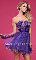 baby doll prom dresses - prom Custom Made Summer A line Stunning Party Floral Strapless Baby Doll Dress