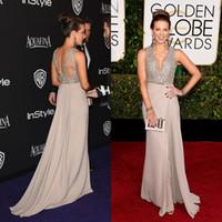 Wholesale 2015 Golden Globe Awards Kate Beckinsale In Celebrity Dresses Deep V Neck Backless Sequin Red Carpet Evening Prom Gown