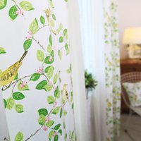Wholesale Cotton curtains semi shade garden birds twitter and fragrance of flowers window curtain factory direct retail custom processing