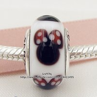 Animals murano pendant - 5pcs Sterling Silver Threaded Screw Classic Minnie Murano Glass Bead Fits European Pandora Jewelry Charm Bracelet Necklaces Pendants