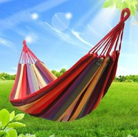 Cheap HOT SALE Camping Hammock Swing outdoor Thickening Canvas Hammock Casual Single double Bearing D0001