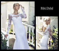 Cheap 2015 Riki Dalal Full Sleeve Mermaid Wedding Dresses Lace Bodice Bateau Neck Open Back Vestido De Novia Romantic Tulle Skirt Long Bridal Gown