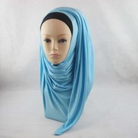 Wholesale 2016 New cotton solid color plain jersey hijab scarf Fashionable colorful Shimmer Viscose Muslim Shawl Hijab Scarf