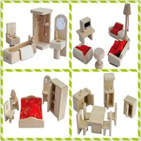 wood furniture kitchen - 4set mini wood simulation Wooden furniture toy kitchen bedroom bathroom toys for baby children play house Unique birthday