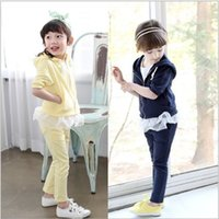 jacket hooded - Childrens Korean Style Athletic Casual Set Spring Girls Long Sleeve Outfit Fashion Patchwork Hooded Jacket And Soft Pants
