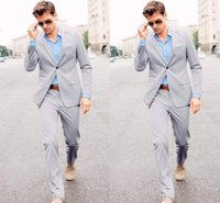 army suit for sale - Light Gray Men s Suit for Wedding Party One Button Custom Made Hot Sale Wedding Tuxedos Jacket Pants Tie Vest