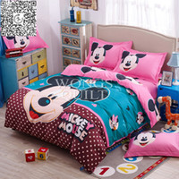 beds discount - 2015 New Discount Bedding Sets Polyester Mickey Mouse Printing Duvet Cover Set Full Queen Size Bed Home Textiles for sale