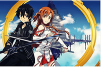 art paintings online - Sword Art Online Kirito Asuna Silk Wall Poster x32 x24 x12 inch Girl Boy Room Big Prints Comic Anime SAO ALO Mural