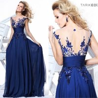 Wholesale Tarik Ediz Royal Blue Chiffon Evening Prom Gowns In Stock Cheap Sheer Crew Neck Celebrity Backless Wedding Party Formal Guest Dresses