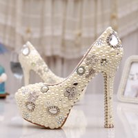 best evening shoes - Best Quality Amazing Elegant White Ivory Pearl Party Prom Shoes Hot Sale Evening Stiletto Bridal Wedding Shoes