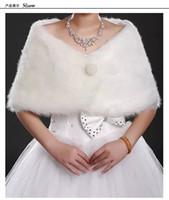 Wholesale 2016 Stock New Ivory Faux Fur Jacket Wrap Shrug Bolero Shawl Cape Bridal Wedding Wraps Off Shoulder Wedding Jacket Bolero Coat Wrap