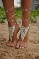 cyber monday - CYBER MONDAY SALE Crochet Ivory Barefoot Sandals Nude shoes Foot jewelry Wedding Victorian Lace Sexy Yoga Anklet Bellydance Steamp