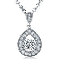 Wholesale Dancing Diamond Sterling Silver Pendant Necklaces For Women Silver Fine Jewelry With Cubic Zirconia Rhodium Plated Or For Gift DP53810A