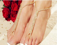 Wholesale Hot Fashion Shining Crystals Beach Barefoot Sandals Beach Wedding Accessories Body Jewelry barefoot DHL free