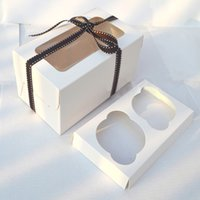 cupcake boxes cake boxes - 2015 New Arrival Sale Plastic Tube with Caps Wonderful Love Muffin Baking White Box Mounted Two Grid Cupcake Cups Cake Boxes Wj