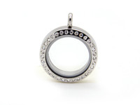 wholesale lockets - Stainless Steel CZ Silver Round Screw Floating Charm Lockets mm and mm are available