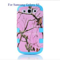 Wholesale Best selling IN PC SILICONE Combo hybird pink realtree camo design Case for galaxy S3JYIPK118