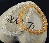 Wholesale Crystal full diamond bracelet Crystal Elements jewelry Optional multicolor Wedding Bracelets Sparkly Rhinestone Stretch Elastic Wristband