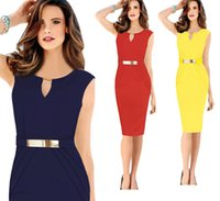 business clothing - Womens Bodycon Dress Gold Belt Business Party Evening clothing Peplum Sleeveless Midi New Lady Summer Dress Free Dropshipping colors