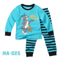 Wholesale Autumn Kids Boys Christmas Pajamas Children Cartoon Tom Sleeping Clothing Cotton Top Suits Sleepwear Sets Baby Outfit Seals168 ZS B21