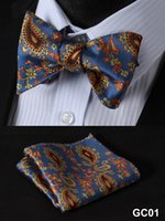 93 self tie bow ties - Blue Yellow Paisley Silk Jacquard Woven Men Butterfly Tie Self Bow Tie BowTie Pocket Square Handkerchief Hanky Suit Set