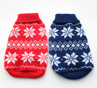 Wholesale Red Blue christmas dog Sweater Snow Flakes design pet jumper coat clothes apparel sizes XS S M L XL5 sizes available