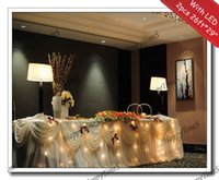 Wholesale 2pcs Beatiful Wedding Decoration Ruffled Table Skirt With Metal Clips LED Light In Warm White Color