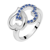 Wholesale Crystal ring lover wedding cluster rings high quality charm jewelry wedding ornament ring gift