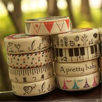 Wholesale Scrapbooking Tools Stickers Stationery Tags Cotton Cloth Tapes Linen Music Love Tower Masking Decorative Adhesive Tape