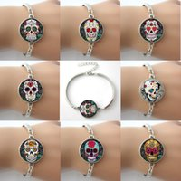 sugar white sugar - Sugar Skulls Cross Flower Rose Canvas Prints Lock Giant Cutout Bracelets Bangles Plated Antique Silver Round Rhodium Bangles