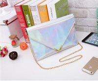 Wholesale hot sales New Women Laser Silver Color Handbag Hologram Envelope Clutch Evening Bag women message clutch bag N