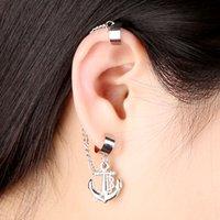 punk rock studs - 2015 New Fashion Rock Punk Anchor Tassel Earring Clip On Stud Hanging Earring Fashion Ear Cuff brincos jackets Sale J0103