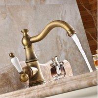 Wholesale Antique Brass Single Ceramic Handle Basin Faucet Taps Deck Mount Long Neck Bathroom Mixer Taps