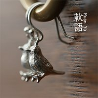 Wholesale Genuine soft language empty tit bird earrings Silver Art
