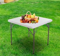 Wholesale Portable quot Square Plastic Folding Table Outdoor Banquet Camping Desk White