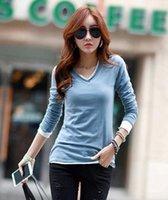 Cheap OMH Spring Autumn Women's Korean fashion Simple punk long Sleeve v-neck Female Elegant clothes T-Shirts Tops, TX25