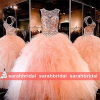 amazing quinceanera dresses - Amazing Rhinestone Crystals Blush Peach Quinceanera Dresses Sexy Sheer Crew Sweet Ruffle Princess Prom Ball Birthday Party Gowns