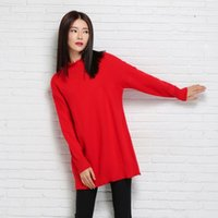 basic geometry - 2015 women stand collar medium long loose pullover cashmere sweater geometry basic shirt wool sweater outerwear FG1510